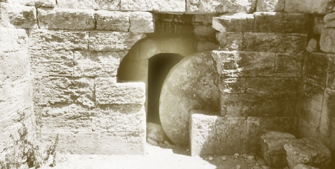 Stone Rolled Away - Easter Tomb Image
