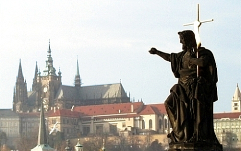 picture of Jesus on the St. Charles bridge in Prague