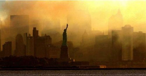 Statue of Liberty as World Trade Center Fell