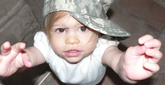 Baby in army fatigues
