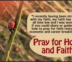 Pray for hope and faith