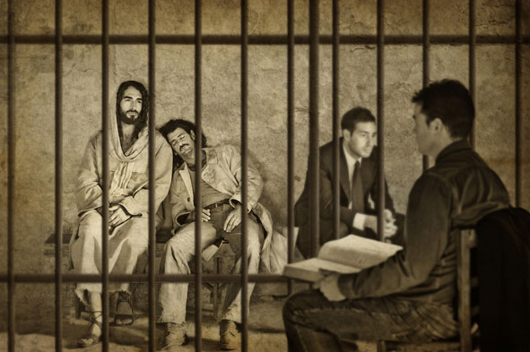Jesus comforting those in prison